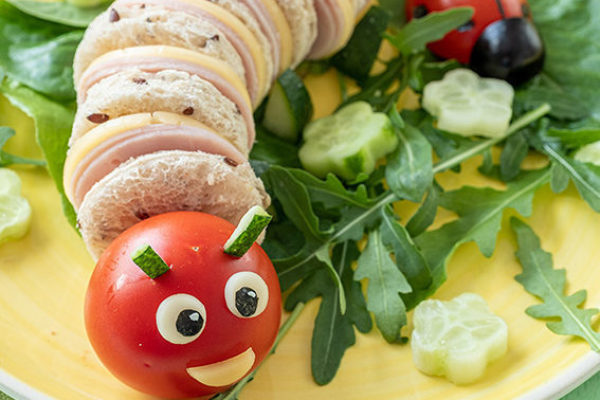 Funny Caterpillar Sanwich with ham and cheese © Adobe Stock